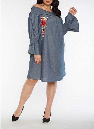 Plus Size Off the Shoulder Chambray Dress with Rose Applique,CHAMBRAY,large