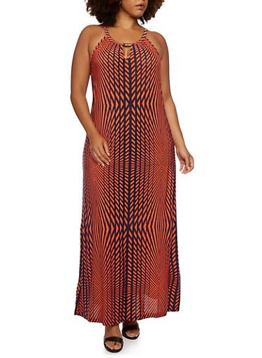 Plus Size Geometric Print Maxi Dress with Keyhole Cutout,ORANGE,large