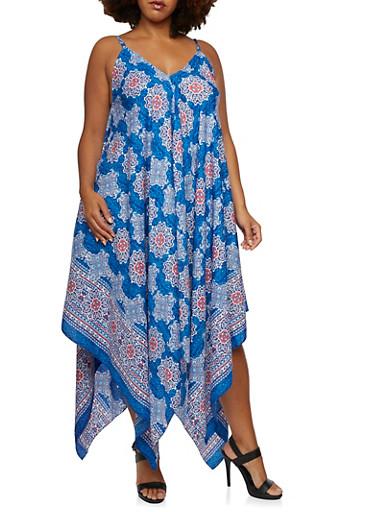 Plus Size Flutter Hem Dress with Multicolored Mandala Print,MULTI COLOR,large
