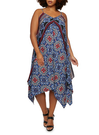 Plus Size Sleeveless Printed Dress with Sharkbite Hem,MULTI COLOR,large