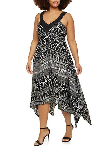 Plus Size Printed Asymmetrical Dress with Crochet Straps,MULTI COLOR,large