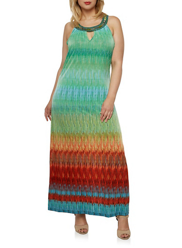 Plus Size Maxi Dress with Beaded Scoop Neck,GREEN MULTI,large