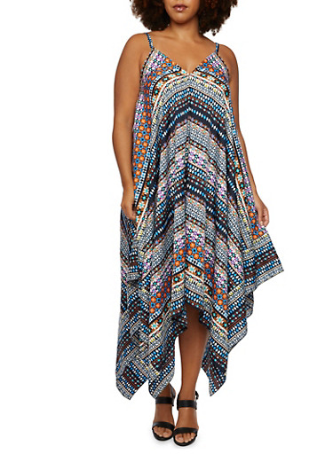 Plus Size Abstract Print Dress with Sharkbite Hem,MULTI COLOR,large