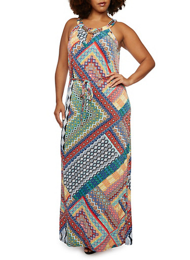 Plus Size Printed Maxi Dress with Curb Chain Neckline Accent,MULTI COLOR,large