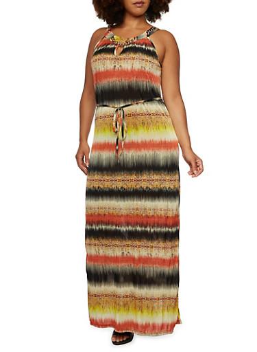 Plus Size Maxi Dress with Curb Chain Neckline Detail,MULTI COLOR,large