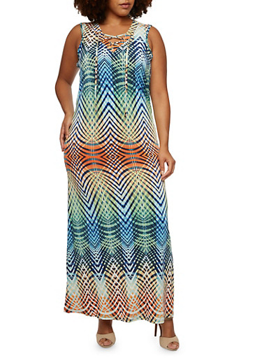 Plus Size Abstract Print Maxi Dress with Lace-Up V-Neck,BLUE,large