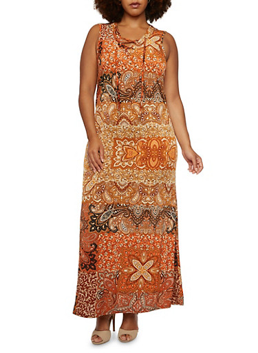 Plus Size Paisley Maxi Dress with Lace-Up V-Neck,MULTI COLOR,large