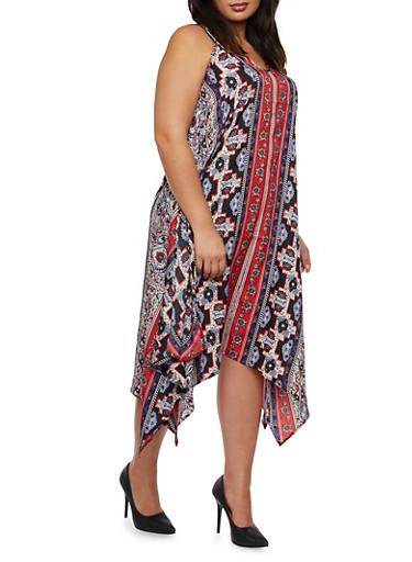 Plus Size Printed Dress with Handkerchief Hem,MULTI COLOR,large