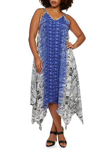 Plus Size Sharkbite Hem V-Neck Dress with Mixed Print,MULTI COLOR,large