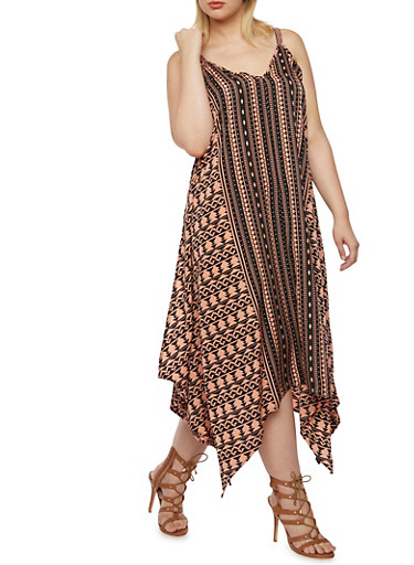 Plus Size Printed Shift Dress with Handkerchief Hem,BLUSH,large