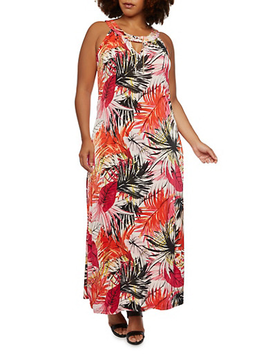 Plus Size Maxi Dress with Removable Chains at Scoop Neck,MULTI COLOR,large