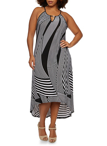 Plus Size High-Low Dress with Striped Print,BLACK/WHITE,large