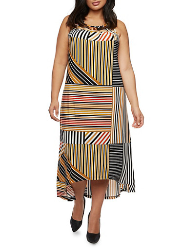 Plus Size High-Low Dress with Metallic Hardware at Scoop Neck,MULTI COLOR,large