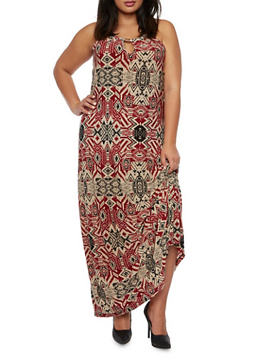 Plus Size Printed Maxi Dress with Keyhole Cutout,MULTI COLOR,large