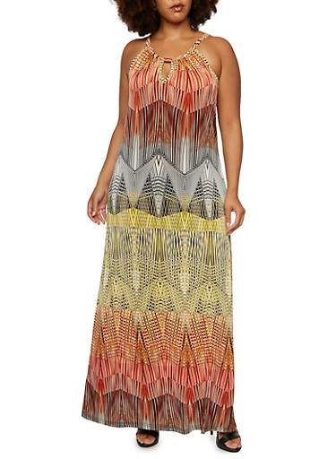 Plus Size Sleeveless Maxi Dress in Abstract Print,MULTI COLOR,large
