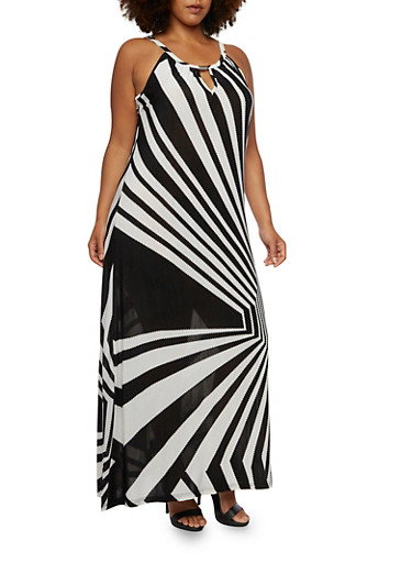 Plus Size Maxi Dress with Psychedelic Stripes,BLACK/WHITE,large