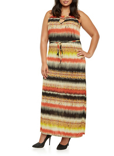 Plus Size Printed Maxi Dress with Chainlink Neckline,RUST MULTI,large