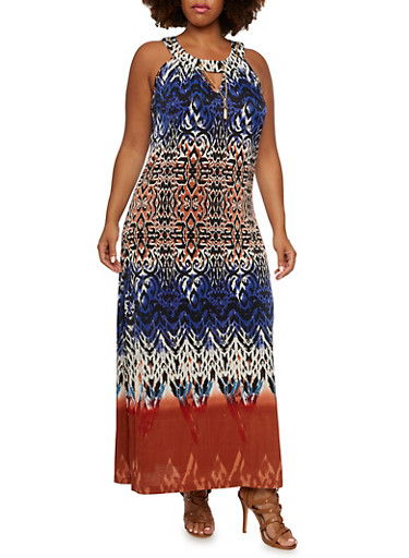 Plus Size Halter Maxi Dress in Print,BLUE/SALMON,large