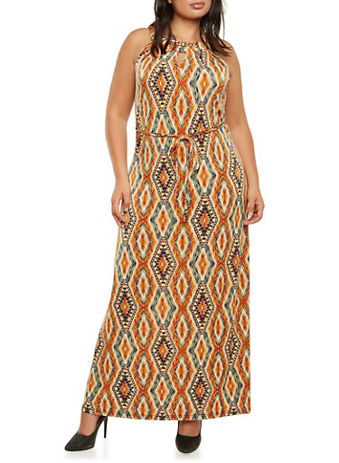 Plus Size Chain Neck Maxi Dress with Ornate Print and Back Keyhole Cutout,RUST,large