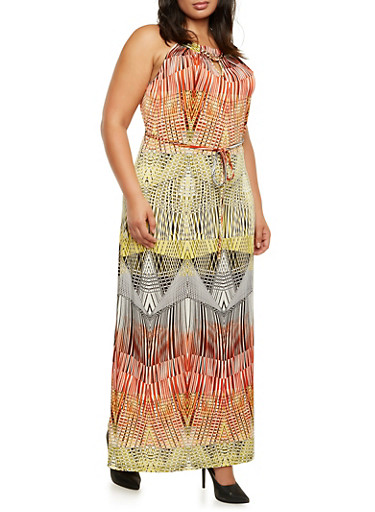 Chain Neck Maxi Dress with Abstract Print,RUST MULTI,large