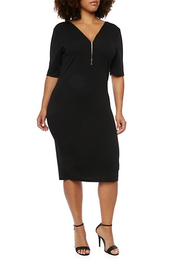 Plus Size Dress with Zip V Neck,BLACK,large