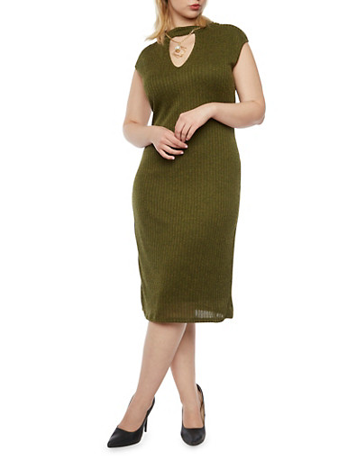 Plus Size Rib Knit Keyhole Cutout Dress with Necklace,OLIVE,large