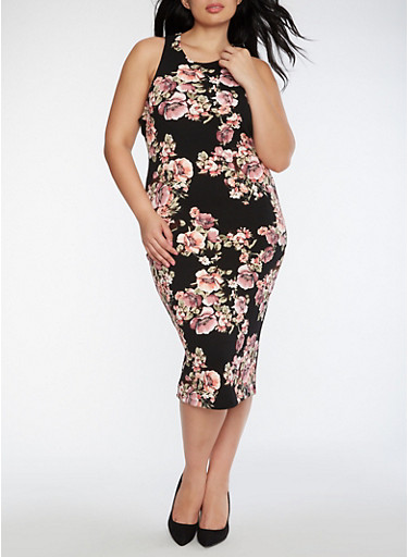 Plus Size Floral Bodycon Dress,BLACK,large
