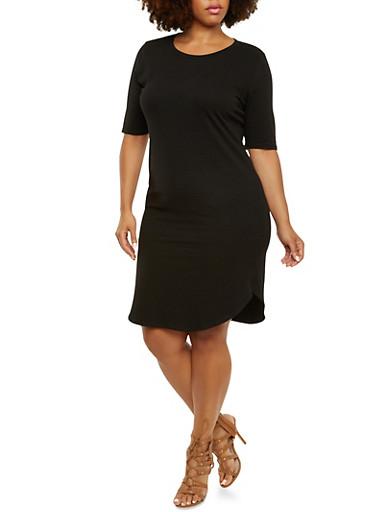 Plus Size Jersey Shirt Dress with V-Neck,BLACK,large