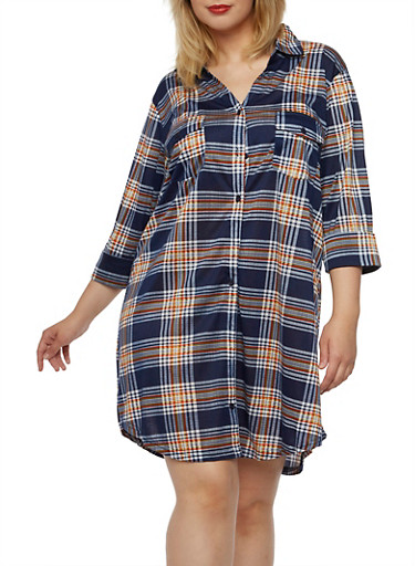 Plus Size Button-Down Tunic Top with Plaid Print,NAVY-GOLD,large
