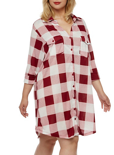 Plus Size Button-Down Shirt Dress with Gingham Print,BURGUNDY-WHT,large