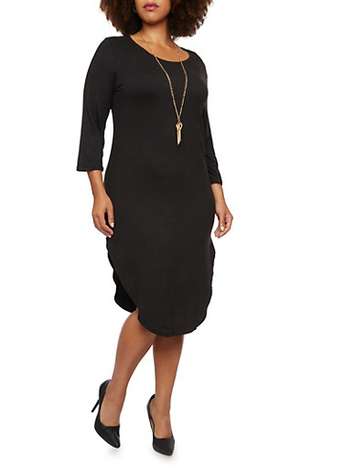 Plus Size Brushed Knit Midi Dress with Necklace,BLACK,large