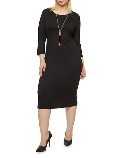 Plus Size Stretch T Shirt Dress with Removable Necklace,BLACK,large