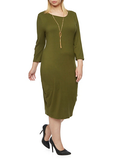 Plus Size Stretch T Shirt Dress with Removable Necklace,OLIVE,large
