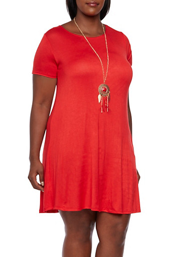 Plus Size Jersey Shift Dress with Necklace,RED,large