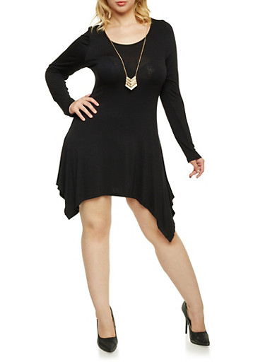 Plus Size Asymmetrical Dress with Necklace,BLACK,large