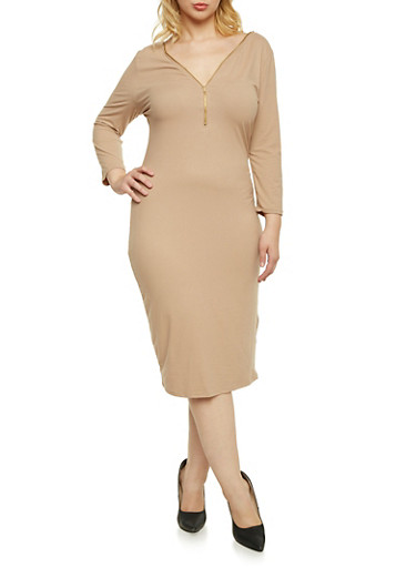 Plus Size Zip Front Dress with V Back,TAN,large