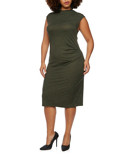 Plus Size Heathered Dress with Gathered Waist,OLIVE,large