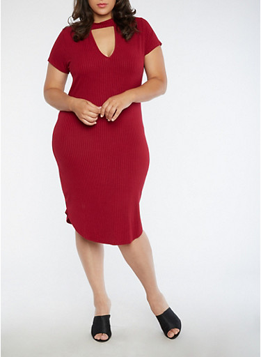 Plus Size Rib Knit Bodycon Dress,BURGUNDY,large
