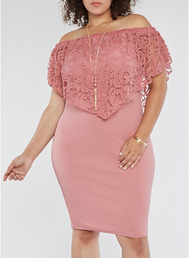 Plus Size Off the Shoulder Lace Overlay Dress,MAUVE,large
