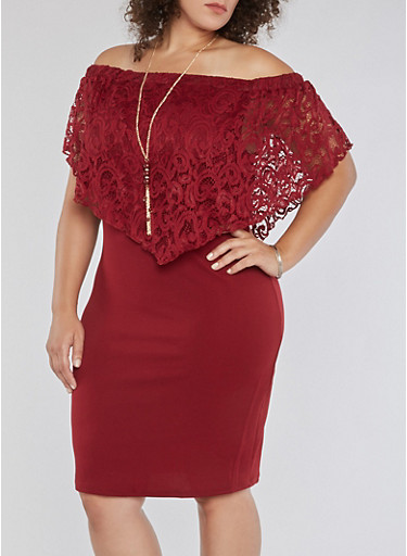 Plus Size Off the Shoulder Lace Overlay Dress,BURGUNDY,large
