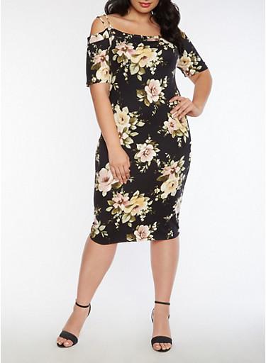 Plus Size Off the Shoulder Soft Knit Floral Dress,BLACK,large