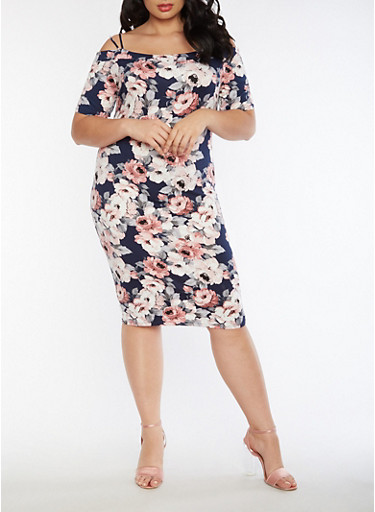Plus Size Off the Shoulder Soft Knit Floral Dress,NAVY,large