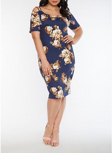 Plus Size Off the Shoulder Soft Knit Floral Dress,NAVY,large