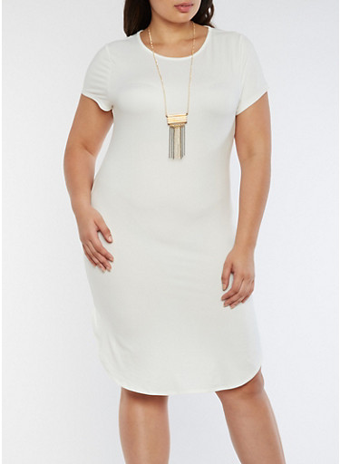 Plus Size Short Sleeve Midi Dress with Necklace,IVORY,large