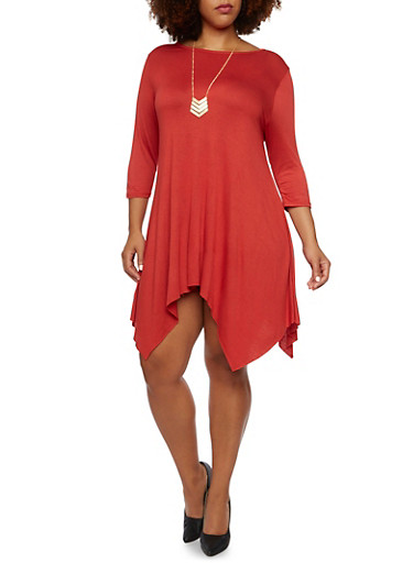 Plus Size Jersey Dress with Asymmetrical Hem,RUST,large