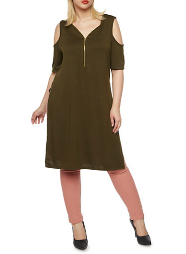 Plus Size Cold Shoulder Tunic Top with Zip Neck,OLIVE,large