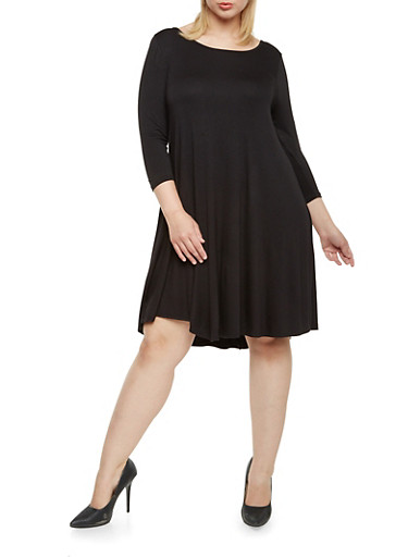 Plus Size Dress with Scoop Back,BLACK,large