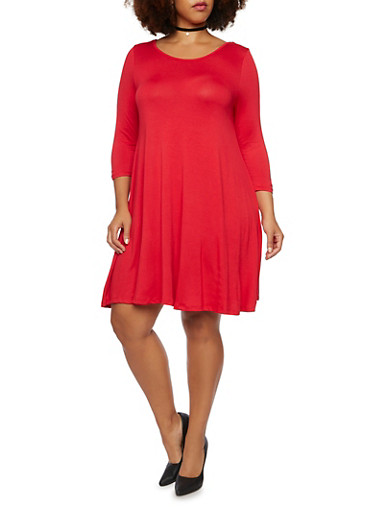 Plus Size Dress with Back Lattice Scoop Neck,RED,large