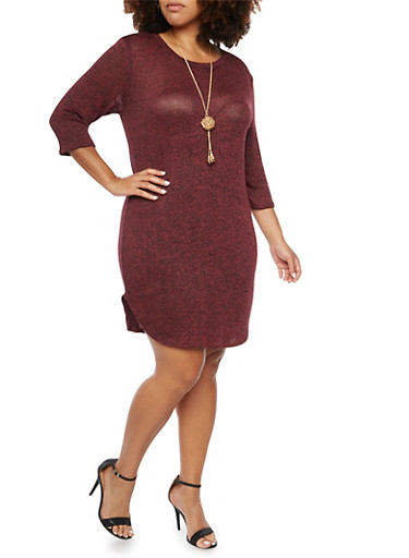 Plus Size Knit Dress with Necklace,BURGUNDY,large