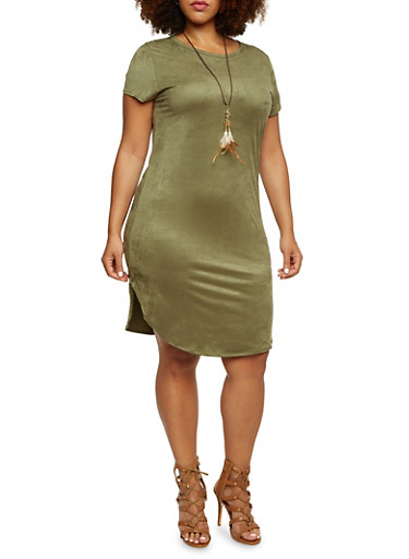 Plus Size Sueded Shirt Dress with Feather Necklace,OLIVE,large